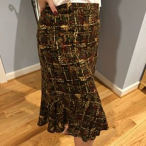 NWT Brown Patterned Loft Skirt